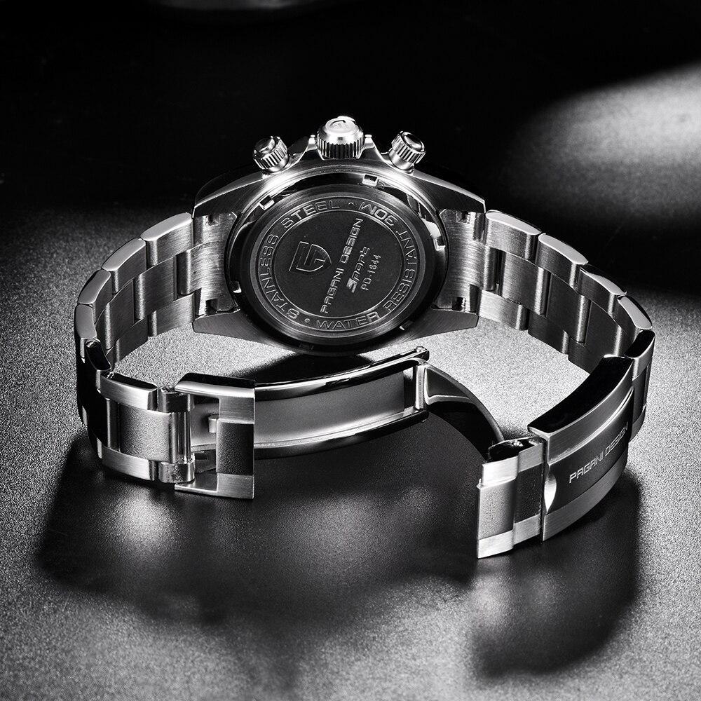 Часы для мужчин s Нержавеющая сталь Кожаный ремешок кварцевые часы Мода синий черный человек часы стиль для мужчин платье часы 40 мм - 6