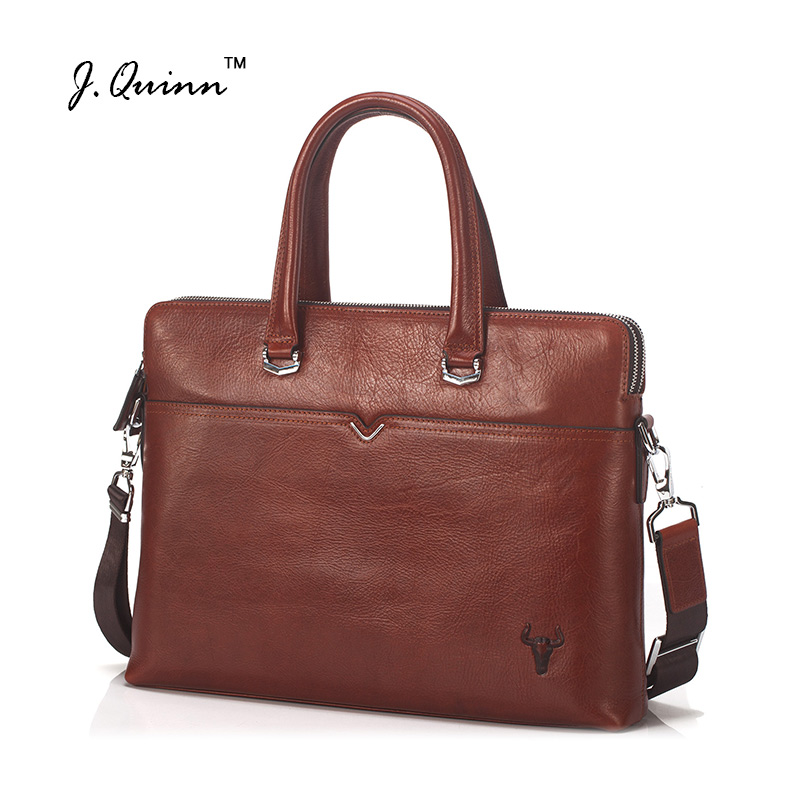 J.Quinn 2017 Laptop Bags Genuine Leather Briefcases Business Cowhide Messenger Bags Shoulder Men Women Travel Handbag New Design