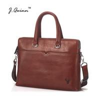 J.Quinn 2017 Laptop Bags Genuine Leather Briefcases Business Cowhide Messenger Bags Shoulder Men Women Travel Handbag New Design