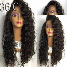 PAFF Curly Lace Front Human Hair Wig 130% 150% 180%Density Brazilian Remy Natural Color For Women With Baby Pre Pluked