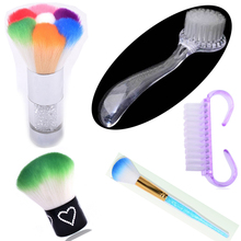 цены One Piece 5 Types Plastic Nail Art Cleaning Brush Remove Dust Powder Cleaner for Acrylic UV Gel Nails Art Manicure Care Tool