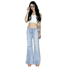 Women Fashion Vintage Low Waist Button Hole Pure Denim Straight Ankle Wide Leg Pants Loose Style Stretchy Ripped Jeans