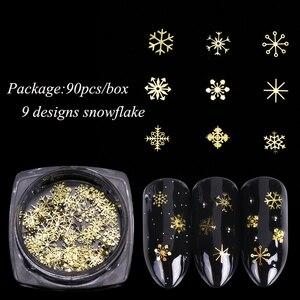 Image 2 - 1 Box Nail Glitter Christmas Gold Snowflakes Nail Art Sequins Powder Dust Flakes 3D Charm Decoration UV Gel Polish Tips JI889