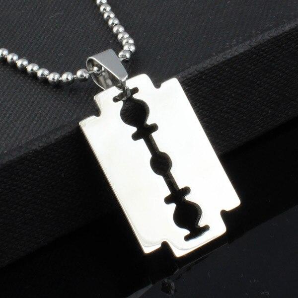 5X Collier en acier inoxydable Pendentif lame de rasoir pour hommes Argent P4C9