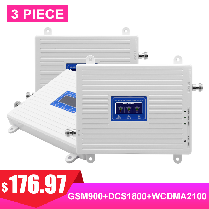 LTE 4G 3G 2G Cellular Signal TriBand Booster FDD GSM DCS WCDMA UMTS 900 1800 2100 Payload Internet Signal Amplifier 3 Pieces#