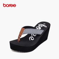 Boree New Summer Women S Sandals Fashion Flip Flops Casual Shoes Wave Striped Cloth Non Slip