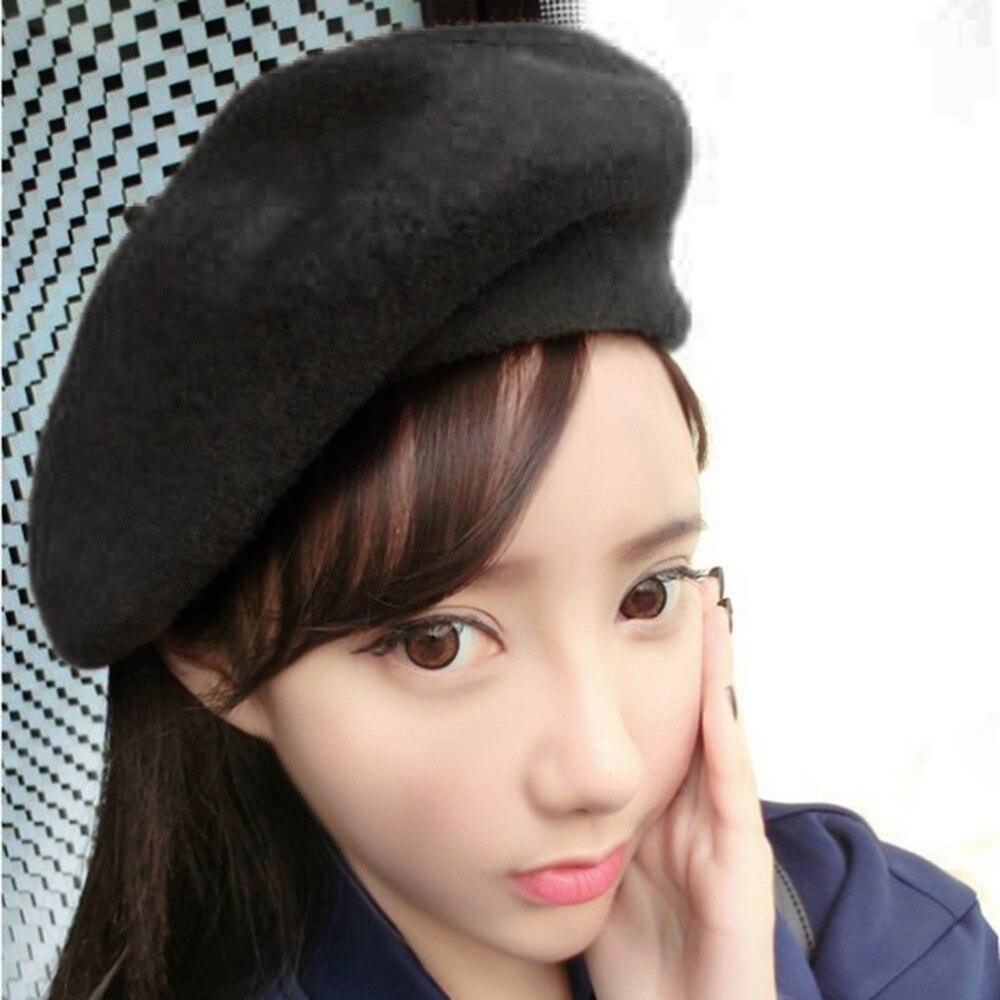 2017 Autumn Winter Women Soft Warm Classic Beret boina feminina Felt French  Artist Beanies Tam Baggy Hats Caps NQ860208 e57beecbcd22