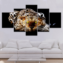 5 Panel Modern Decor Picture Leopard Canvas Painting For Living Room Childrens Poster And Print Framed Art