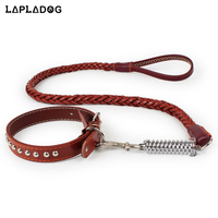 Genuine Leather Pet Dog Leash Real leather Training Lead For Medium Dogs Collar Rope Set Pet Supplies Rivet Dog Products ZL365