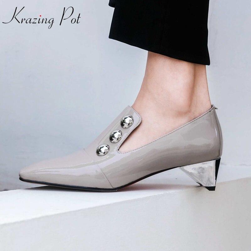 KRAZING POT 2019 vintage charming patent leather sheep skin strange med heels pumps square toe metal