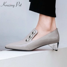 KRAZING POT 2018 vintage charming patent leather sheep skin strange med heels pumps square toe metal rivets gorgeous shoes L21