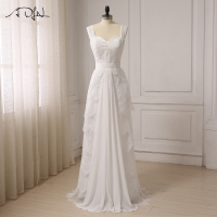 ADLN Cheap A Line Wedding Dresses Chiffon And Lace Sweetheart Pleats Beach Bridal Wedding Gowns Vestido