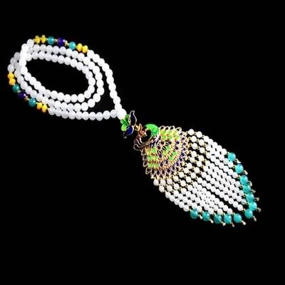 Collier de bijoux JADES blanc naturel finement sculpté pendentif de paon cloisonné et chaîne de chandail de bracelet de dame élégante