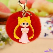 Pop Original New Cute Fluffy Fur Pompom Girls keychain Pompon Ball Anime Key Ring Women Car Bag Holder Christmas Gift