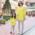 Девочка желтый свободные футболки ребенок ребенок 100% хлопок юбка плюс размер семьи модной одежды для матери и дочери летом