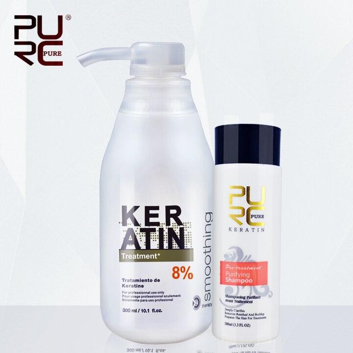 Brazilian keratin 8% formalin 300ml keratin hair treatment and one piece 100ml purifying shampoo hot sale hair treatment