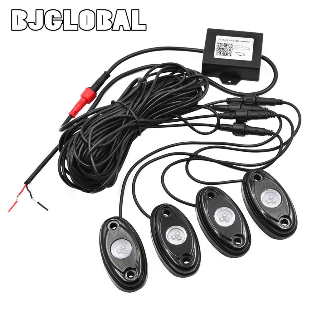ФОТО ROL-002   Set of 4pods install bluetooth controller RGB 4 pods LED rock lights decorate light bluetooth rock light