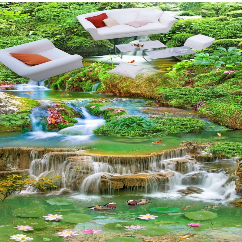 купить Free Shipping custom Super HD streams landscape 3D stereo Floor painting balcony Restaurant self-adhesive wallpaper mural по цене 6953.13 рублей