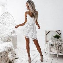 цены Simple V Neck Short Lace Party Dress Sexy Backless Summer Nightclub Dress Fashion Lace Up Fashion Loose Mini White Sundress
