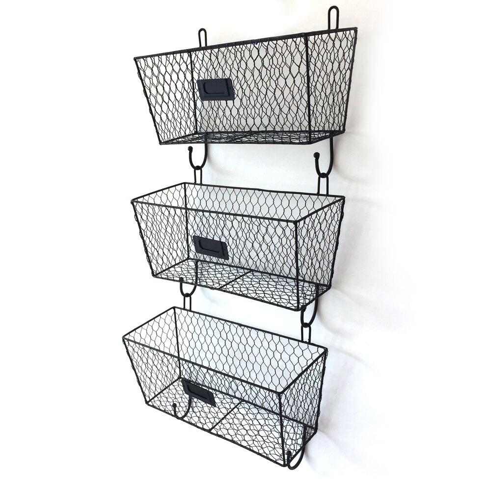 3pcs Wire Letter Mail Mount Metal Rack Basket Vintage Triple Organizer Black US Stock