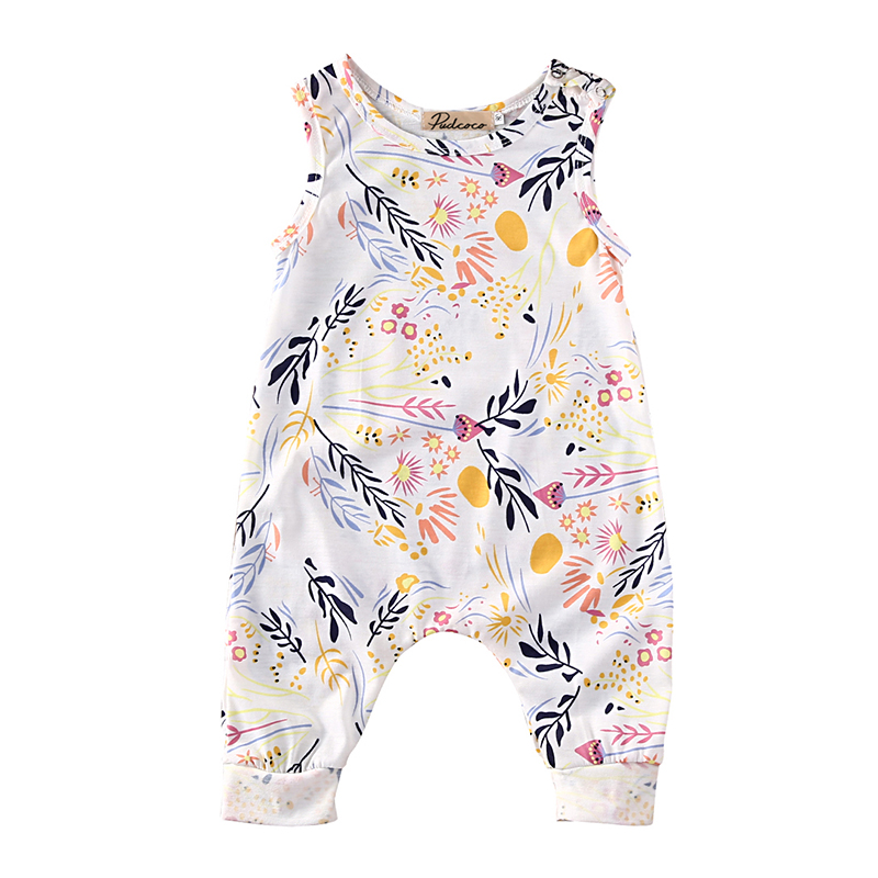 Rompers Baby Girls Clothes 2017 Summer Newborn Kids Baby Infant Girl Cotton O-Neck Sleeveless Romper Girl Floral Jumpsuit Outfit newborn infant baby girl clothes strap lace floral romper jumpsuit outfit summer cotton backless one pieces outfit baby onesie
