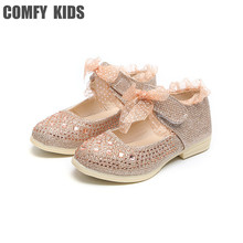 2018 New Lace Girls Leather Shoes Spring autumn inside 13-15 cm Child girls princess shoes fashion Diamond Girls baby flat shoes cheap Flat with COMFY KIDS Fits true to size take your normal size Rubber