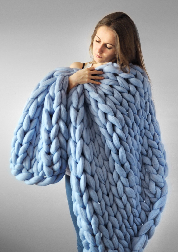 Image 5 - CAMMITEVER 6cm Thick Large Soft Hand Chunky Knitted Blanket Plaids Winter Bed Sofa Plane Thick Yarn Knitting Throw Sofa Cover-in Blankets from Home & Garden
