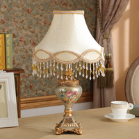 Luxury European style retro lamp bedroom bedside lamp resin crafts high-end Home Furnishing living room decor