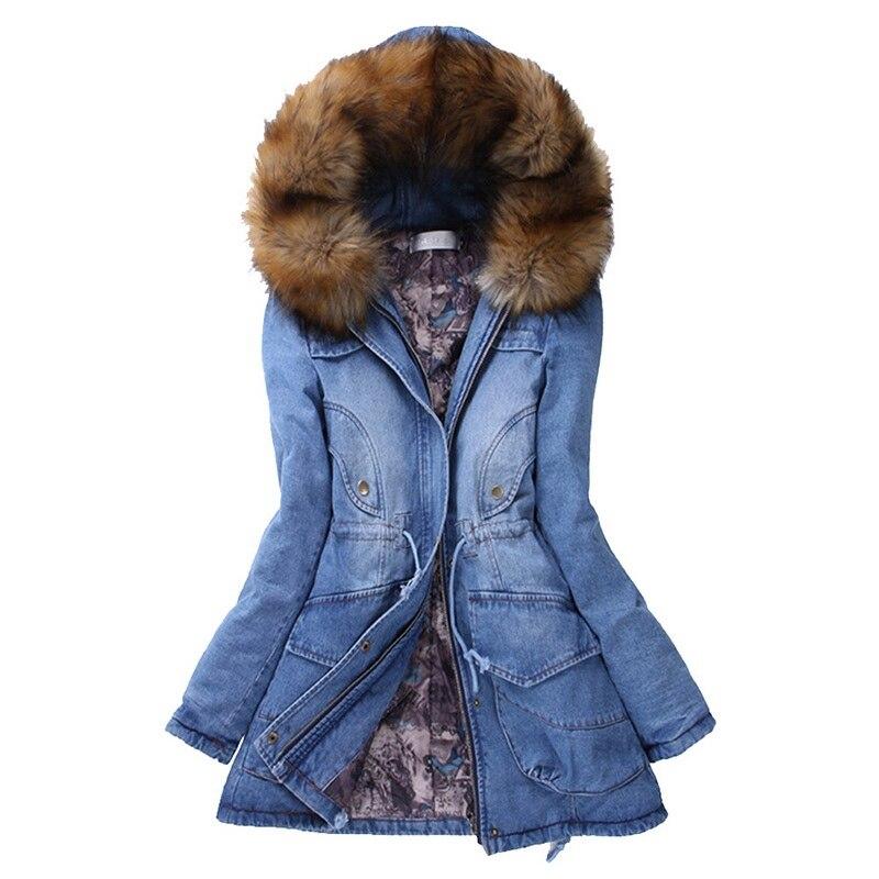 Kadın Giyim'ten Parkalar'de 2019 Kadın Denim Ceketler Kalınlaşma Pamuk Kış Parkas Faux Kürk Kapşonlu Palto Sıcak Kalınlaşmak Giyim Aşağı Uzun Denim Ceket'da  Grup 1