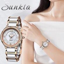SUNKTA Ladies Watch Top Brand Ceramic Strap Waterproof hand Rhinestone Watches Woman Quartz Girl Reloj Mujer