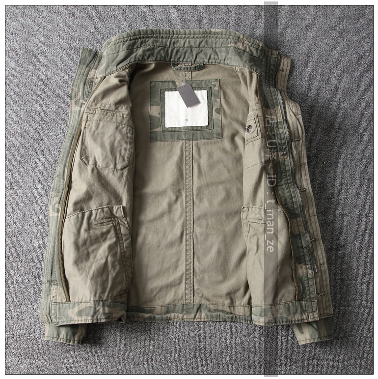 Men Camouflage Combat Jackets Retro Military Pocket Outwear Army Coats Casual Male Cotton Size S 2XL in Jackets from Men 39 s Clothing