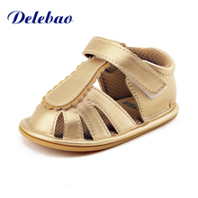 Delebao 2017 Summer New Design Gold Color Baby Sandals Purfle Hook & Loop Rubber Sole Infant Toddlers Shoes