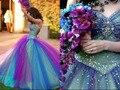 Vestido de 15 años de debutante Rainbow amor del estilo con cuentas de múltiples colores colorido vestido de quinceañera vestidos de bola