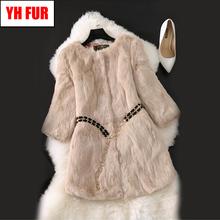 Hot Sale Winter Women Real Genuine Rabbit Fur Jackets Slim Warm Soft Real Rabbit Fur Overcoat Full Pelt Female Rabbit Fur Coat cheap Thick Warm Fur Real Fur YH-051310 Thick (Winter) REGULAR O-Neck Nine Quarter Single Breasted Solid Long Casual 100 real natural rabbit fur
