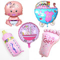 5 unids Baby Shower Decoraciones Globos de papel de Aluminio Ducha de Bebé Precioso de Aire Bolas Niños Suministros Fiesta de Cumpleaños Decoraciones
