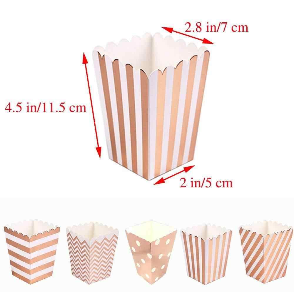 12pcs Rose Gold Stripe WAVE Dotกระดาษกล่องPopCornปาร์ตี้ตกแต่งกล่องขนมCandy Baby Shower Weddingกล่องPARTY Supplies