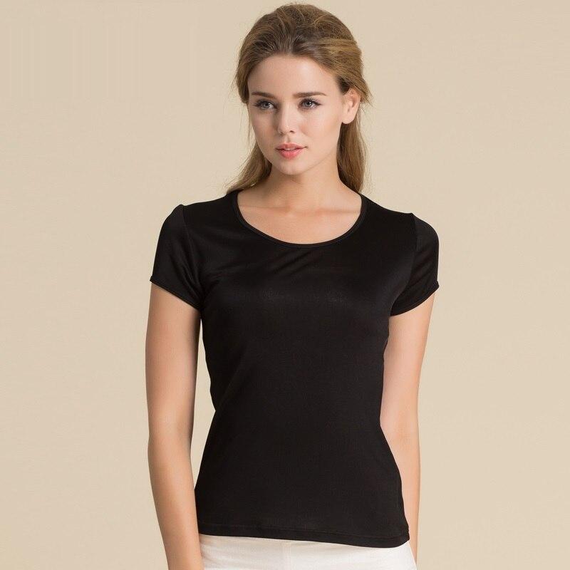 100% женские футболки из чистого шелка, женские топы, футболки, женские повседневные однотонные яркие цвета, женские модные рубашки с коротким рукавом