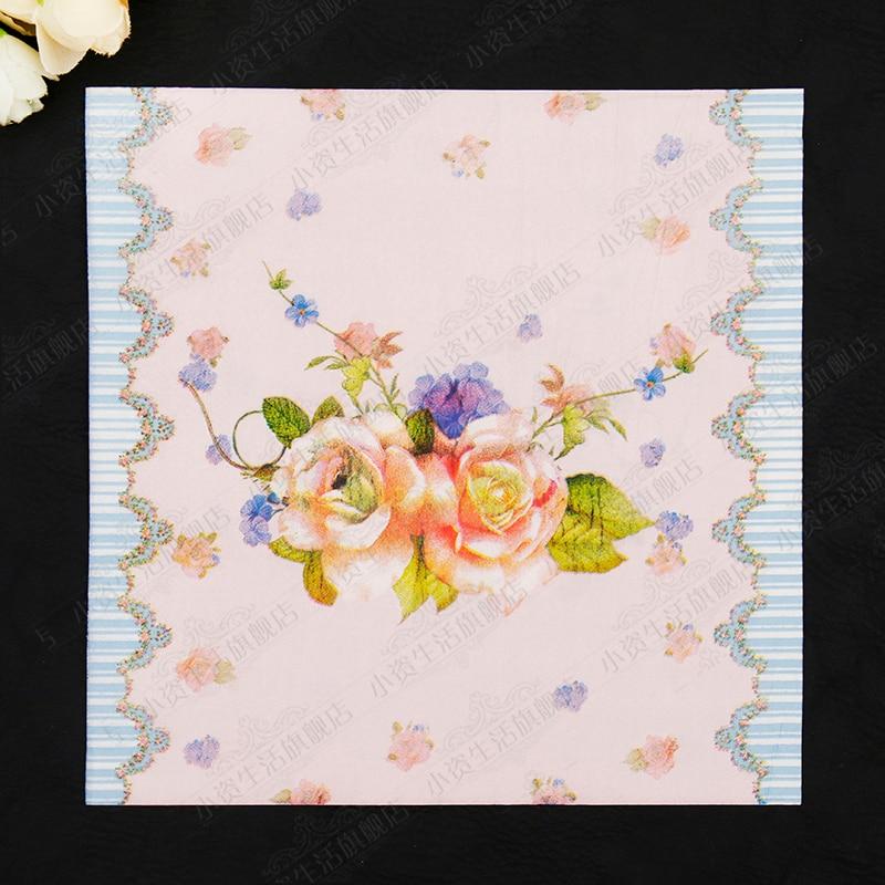 Blue Stripe Flowers Painting Paper Napkins Cafe & Party Tissue Napkins Decoupage Decoration Paper 33cm*33cm 20pcs/pack/lot