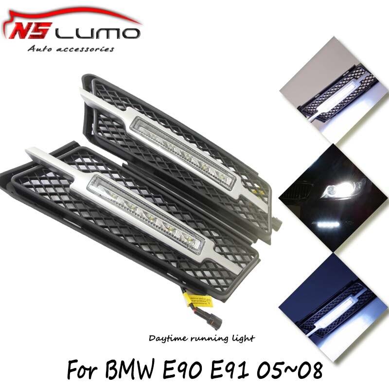 Super White 10W LED DRL daytime running lights parking lamp for BMW 3 series E90 E91 12V DC Head Lamp car styling