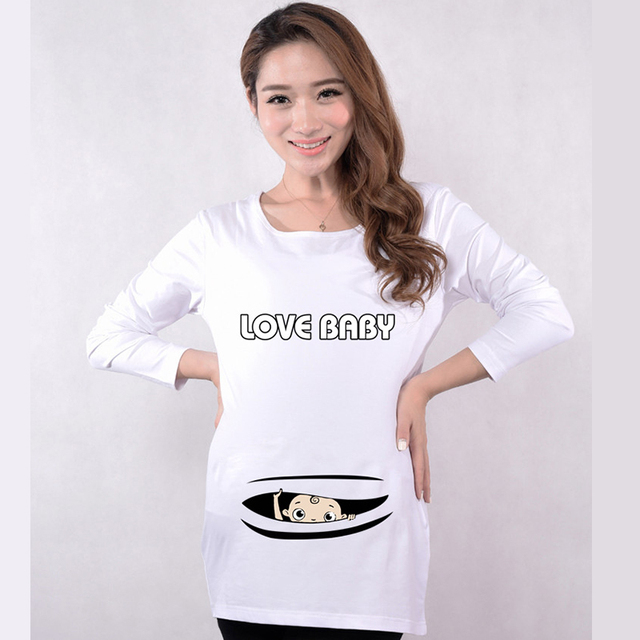 7e95e26287400 Funny pregnancy shirts long sleeve maternity tops maternity clothes baby  peek a boo T-shirts 5 colors tees for pregnant clothing
