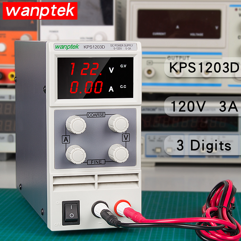 wanptek kps1203d 120 v 3a ajustavel laboratorio dc banco de alimentacao transformadores 3 display digital interruptor