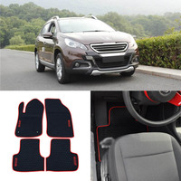 High Quality Full Set All Weather Heavy Duty Black Rubber Floor Mats For Peugeot 208 2008