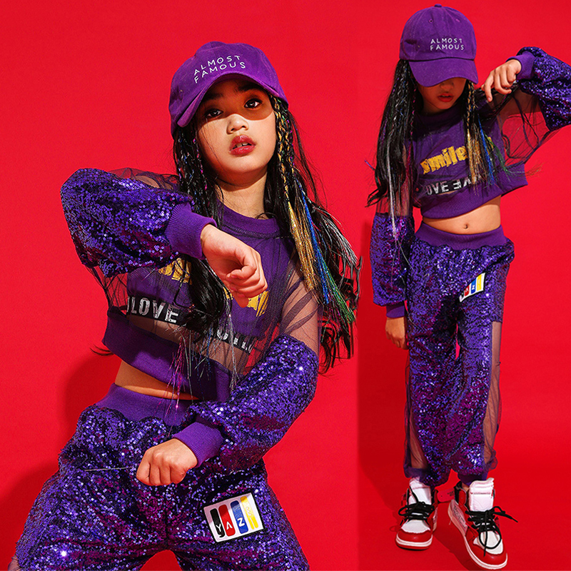 Sequin Dance Costume Long Sleeve Purple Girls Street Dance Practice Wear Performance Clothing Hip Hop Stage Rave Clothes YYT1