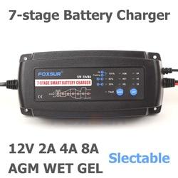 FOXSUR 12V 2A 4A 8A Automatic Smart Battery Charger, 7-stage smart Battery Charger, Car Battery Charger for GEL WET AGM Battery