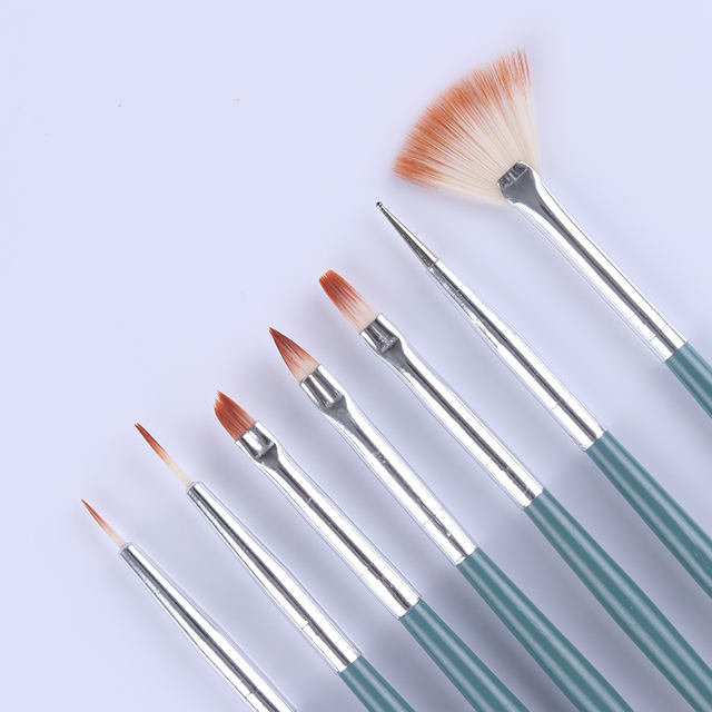 1 Set UV Gel Nail Liner Painting Drawing Brush Acrylic Marble Handle Mixed Sizes Multi-function Nail Art DIY Design Pen Tools