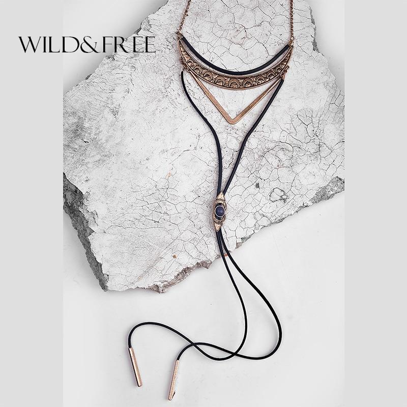 WILD & FREE Vintage Boho Black Leather Choker Neckl