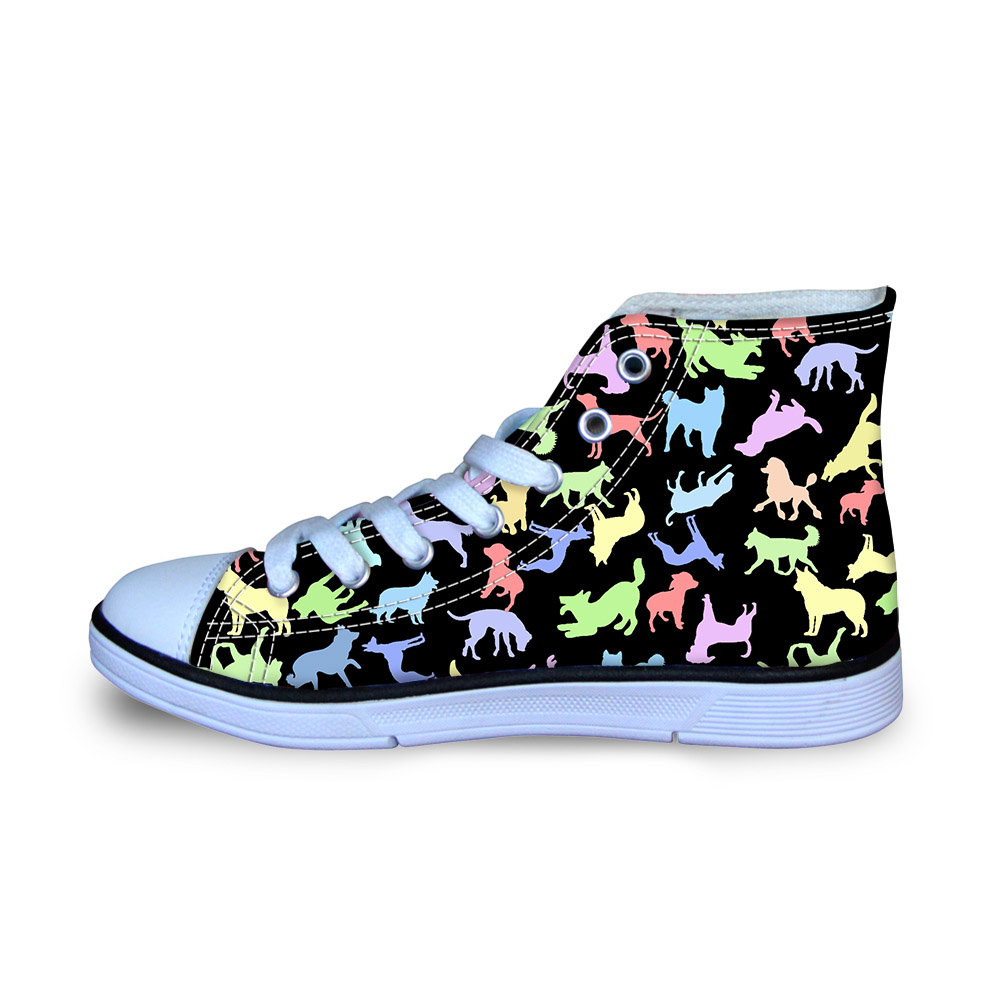Animal Colletion Print Funny Canvas Shoes for Men Dogs Print Autumn Flats School Boys Sneakers Ultralight Loafers Size 29-34