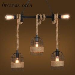 Liny żyrandol styl industrialny retro wiatr bar klatka do przejścia sklep okno jeden kreatywny dekoracyjny lampy w Wiszące lampki od Lampy i oświetlenie na