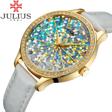2016 Julius Brand Luxury Quartz Watch Crystal Women Watches Female Clock Leather Lady Wrist Watch Montre