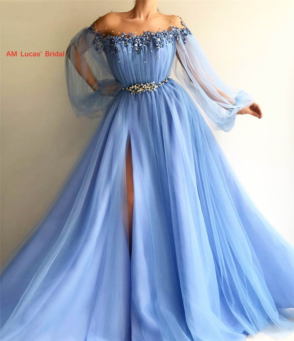 Sexy   Evening     Dresses   With Long Sleeves 2019 New Women Formal Gown For Prom Wedding Party   Dresses   Robe De Soiree